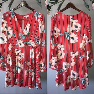 Faux Wrap Floral Dress